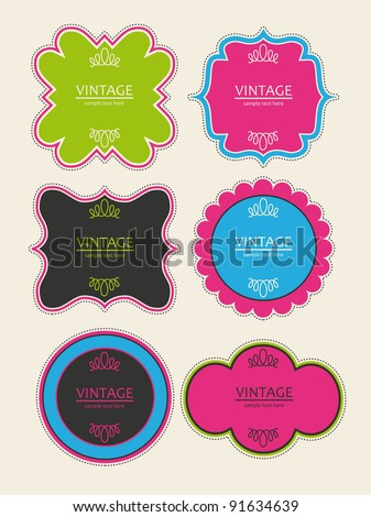 set of cute frames. vector illustration - stock vector