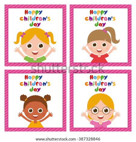 Set of cute girls on similar textured backgrounds - stock vector