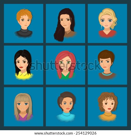Set of cute girls with different hairstyles and color. Vector illustration, eps 10. - stock vector