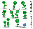 Set of cute green alien creatures. Isolated on white background. Holding a cake, running, playing yoyo and videogames, talking, laughing, standing still. Cartoon. Vector illustration. - stock