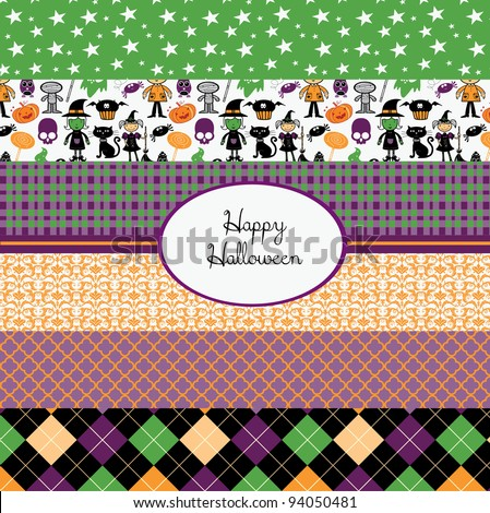 set of cute halloween seamless backgrounds - stock vector