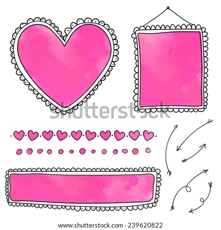 Set of cute hand drawn frames and heart dividers with pink watercolor textures. Doodle vector design elements isolated on white background.  - stock vector