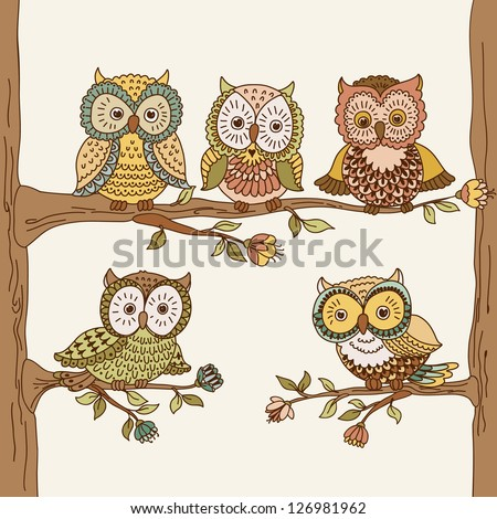 Set of cute hand drawn owls. Vector illustration - stock vector