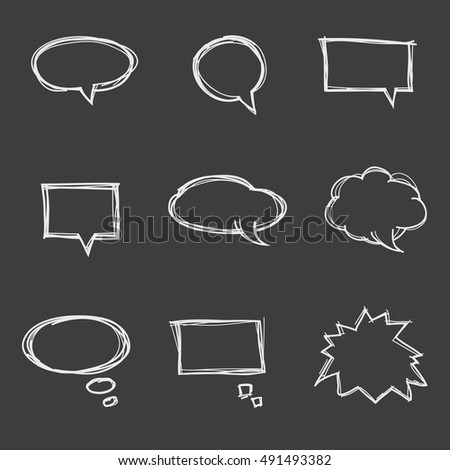 Set of cute hand drawn speech bubbles. Doodle style.  Talk clouds sketching. Balloon shape. Vector illustration.