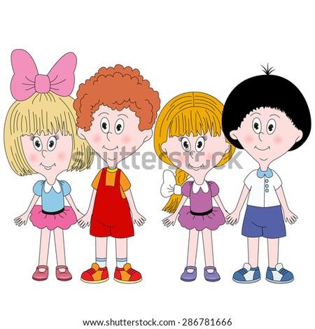 Set of 4 cute happy cartoon kids - stock vector