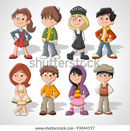 Set of 8 cute happy cartoon kids - stock vector