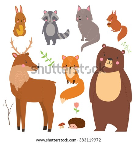 Set of cute illustration of  woodland animals isolated on white background. Animals for design posters, card, postcard, wallpaper in children room or fabric - stock vector