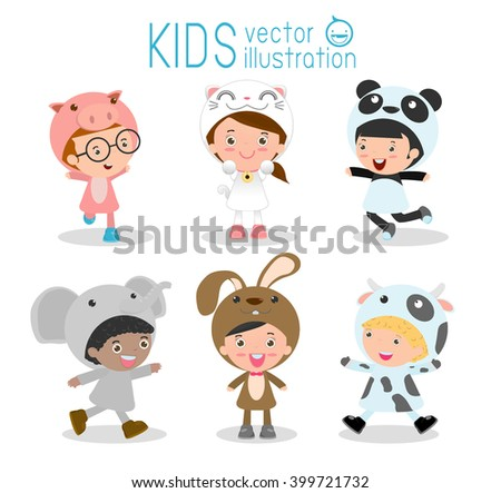Set of cute kids wearing animal costumes isolated on white background, Little children in their Animal Costumes, Kid with animals costume, cute child in costume,Vector Illustration. - stock vector