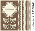 set of cute lace elements. vector illustration - stock vector