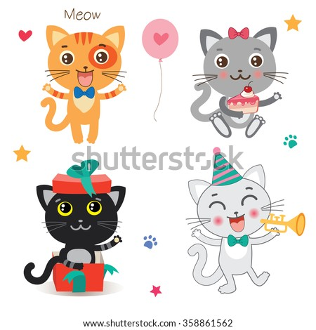 Set Of Cute Little Cats Cartoon Animal Vector Collection On A White Background.  Beautiful Birthday Celebration Cat Set.  - stock vector