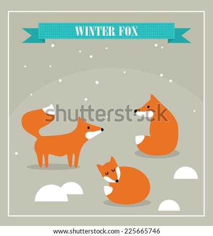 Set of cute little foxes in winter forest. Vector illustration. - stock vector