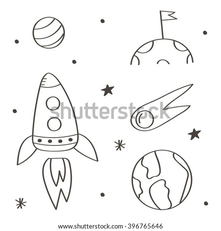 Set of cute monochrome space doodles isolated on white background. Space flight doodles.