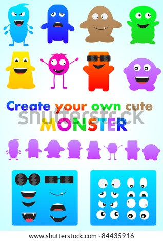 Set of cute monsters - create your own - vector pack - stock vector