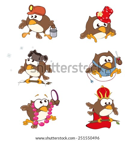 Set of cute owls for you design. Vector icons. Cartoon - stock vector