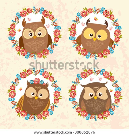 set of cute owls in floral frame. bright illustration. owl lovers. vector illustration. forest owls - stock vector