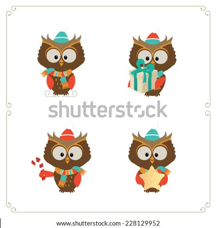 Set of cute owls. Vector illustration - stock vector