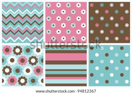 set of cute pattern. vector illustration - stock vector