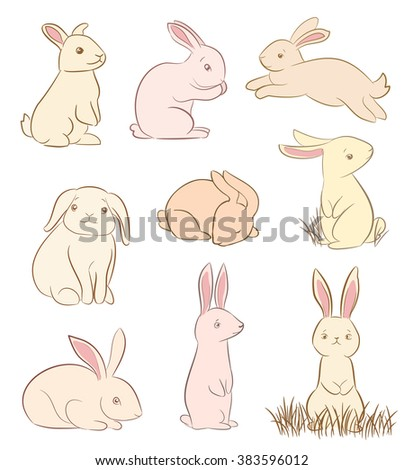 set cute rabbit drawings on white stock vector royalty free