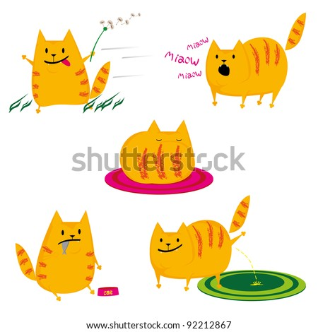set of cute red cats on white background - stock vector