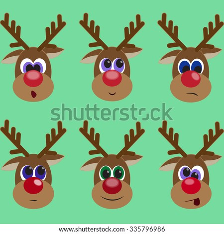 Set of cute rein deers expressing different emotions. Resentment. Surprise. Smile. Dander. Winter backdrop with animal. Vector illustration editable for your design. New Year and Christmas concept - stock vector