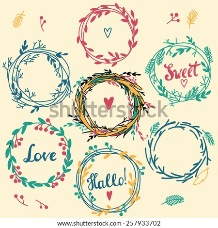 Set of cute retro flower wreath perfect for wedding invitations and birthday cards - stock vector