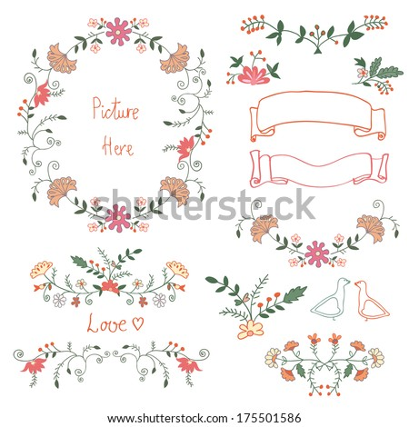 Set of cute romantic flower decoration. Invitation or greeting card vector template. - stock vector