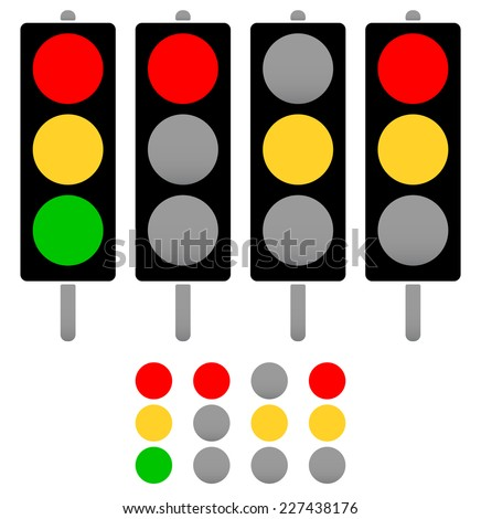 Set of cute, rounded silhouettes of traffic lamps, traffic lights - stock vector