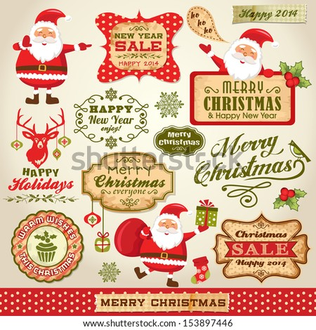 Set of Cute Santa Claus, Christmas design elements with vintage labels, icons and illustrations