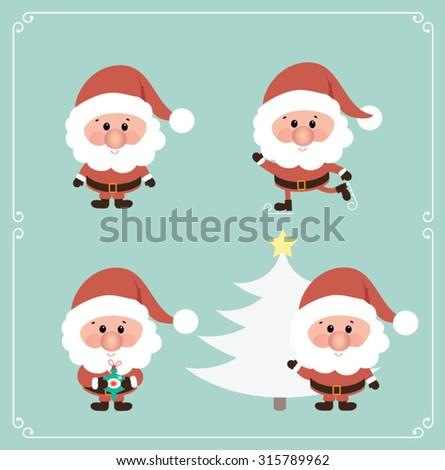 Set of cute Santa Claus. Vector illustration - stock vector