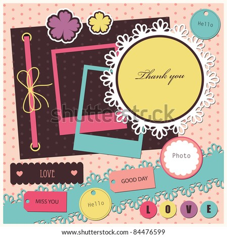 set of cute scrapbook elements. vector illustration