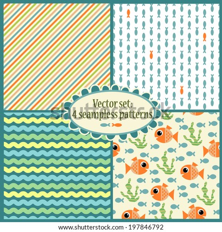 set of cute seamless pattern with sea illustrations. perfect for baby invitations, cards, scrapbook, gift wrapping paper, surface textures - stock vector