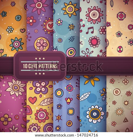 Set of 10 cute seamless patterns with flowers and abstract decorative elements. EPS10. - stock vector