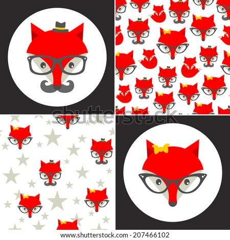 Set of cute seamless patterns with hipster fox. Vector background. - stock vector