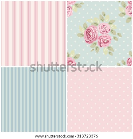 Set of cute seamless Shabby Chic patterns with roses, polka dot and striped, ideal for kitchen textile or bed linen fabric or interior wallpaper design, can be used for scrap booking paper etc - stock vector