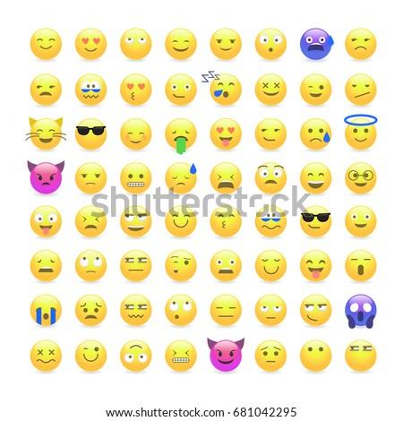 Set Cute Smiley Emoticons Emoji Flat Stock Photo Photo Vector