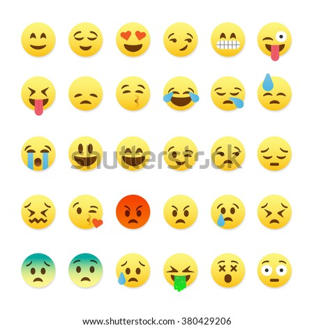 Set of cute smiley emoticons, emoji flat design, vector illustration.  - stock vector