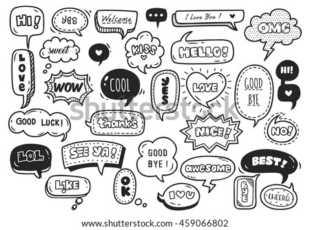 set of cute speech bubble with text in doodle style - stock vector