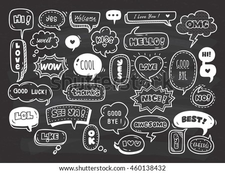 set of cute speech bubble with text in doodle style on chalkboard background - stock vector