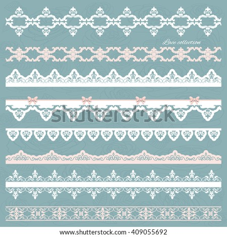 Set of cute straight lace in pastel colors. Can be used for scrapbook, baby shower or wedding design. - stock vector