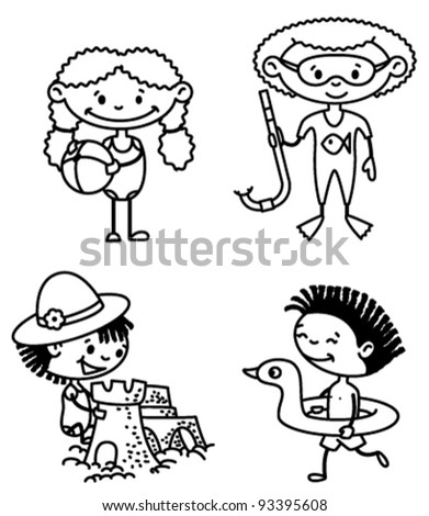 Set of cute summer afroamerican children (color version) - stock vector