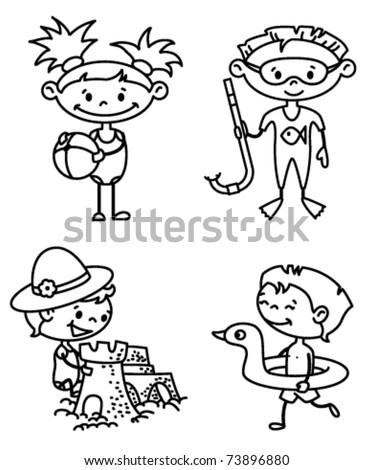 Set of cute summer children (color version) - stock vector