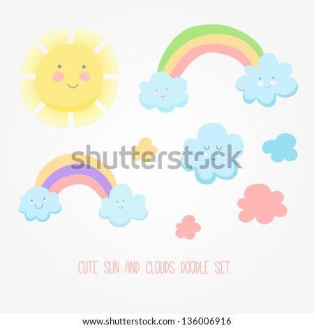 Set of cute sun, cloud and rainbow illustration. Design for children - stock vector