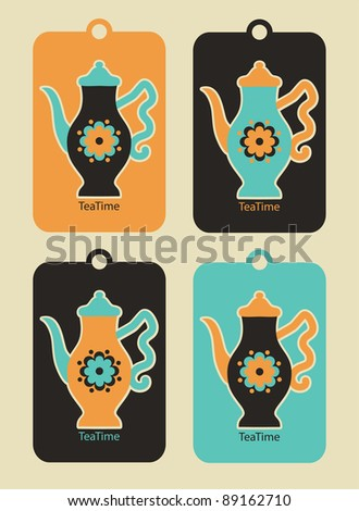 set of cute tea time labels. vector illustration - stock vector