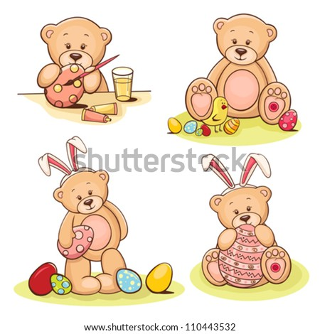 Set of cute teddy bears with Easter eggs. - stock vector