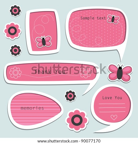 set of cute text frames. vector illustration - stock vector