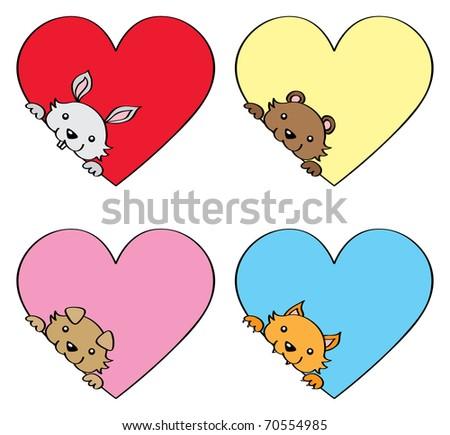 Set of cute Valentine animals. - stock vector