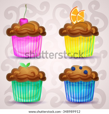 Set of cute vector cupcakes. Collection of sweet pastry. Muffins with blueberries, orange, mint and cherry. Cupcakes in paper tins of bright colors. Beautiful desserts. Vector illustration EPS 10. - stock vector