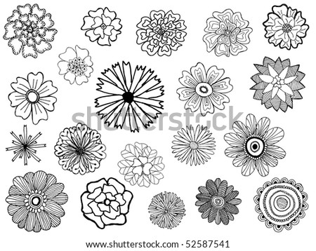 set of cute vector doodle flowers - stock vector