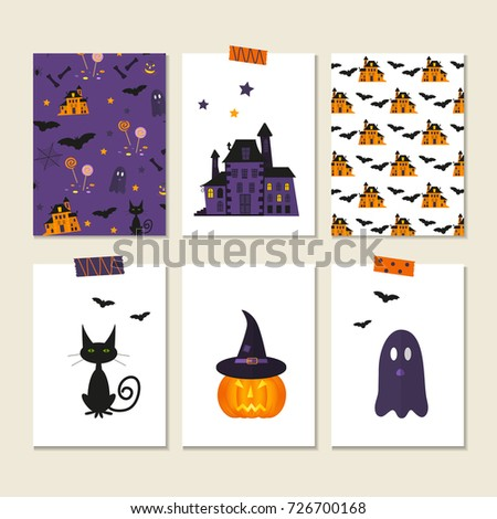 set of 6 cute vector halloween cards and patterns of pumpkin castle cat