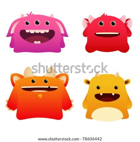 Set of Cute Vector Monsters - stock vector